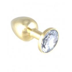 Buttplug i gull med hvit krystall Small