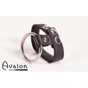 Avalon - Penisring i metall og reim til pung i lær - Sort