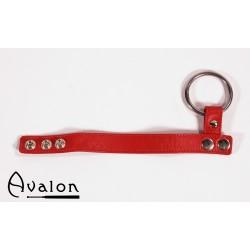 Avalon - Penisring i metall og reim til pung i lær - Rød