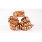 Avalon - Collar og Cuffs 5 deler brun og hvit