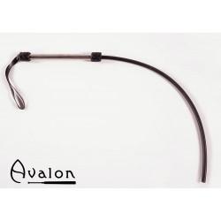 Avalon - Sort 1-halet silikonflogger med lær og metall håndtak