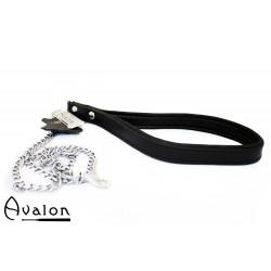 Avalon - COME HERE - Kjettinglenke med lær håndtak Sort