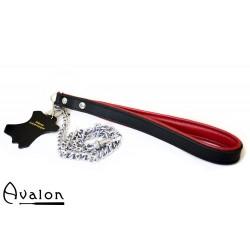 Avalon - COME HERE - Kjettinglenke med lær håndtak Rød