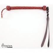 Avalon - Sort og rød flettet Pisk med bøybar tupp