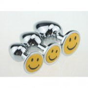 BQS - Buttplug i metall med Smiley Large