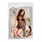 Sort gjennomsiktig kjole med string